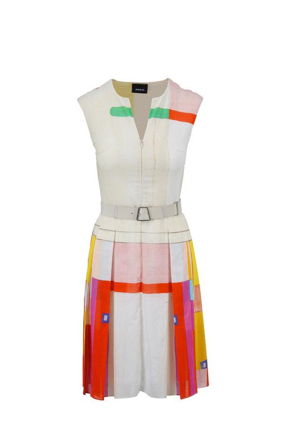 Akris Ivory Murial Print Zip-Front Sleeveless Dress