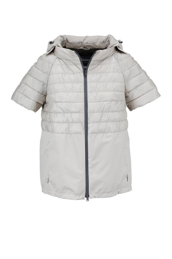 Herno Light Gray Matte Short Sleeve Hooded Jacket