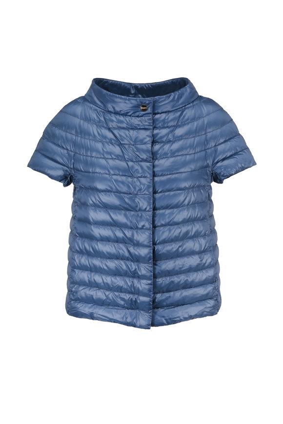 Herno Periwinkle Matte Cap Sleeve Jacket