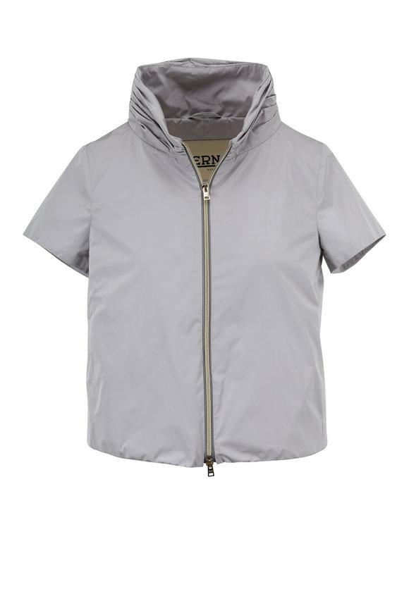 Herno Light Silver Techno Taffeta Cap Sleeve Jacket