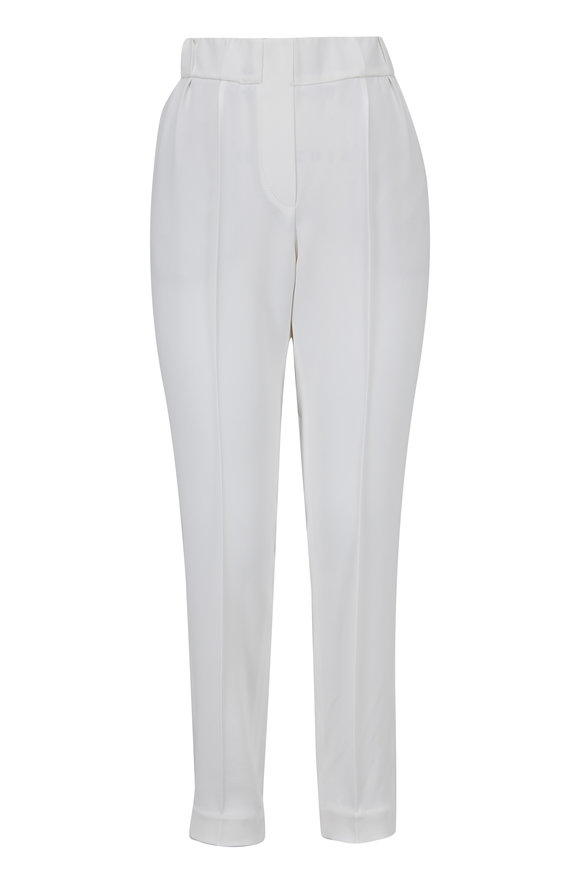 Brunello Cucinelli White Pull-On Ankle Pant