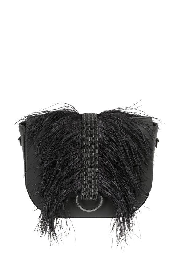 Brunello Cucinelli Charcoal Ostrich Feather & Monili Trim Crossbody