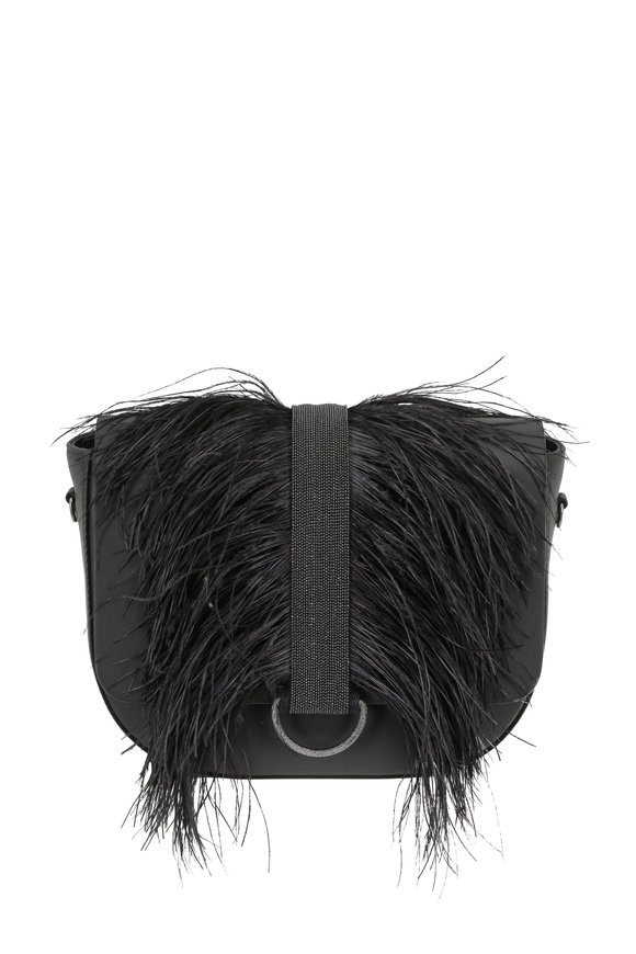 Brunello Cucinelli Charcoal Ostrich Feather & Monili Trim Crossbody