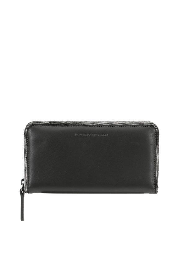 Brunello Cucinelli Graphite Leather Monili Piped Continental Wallet