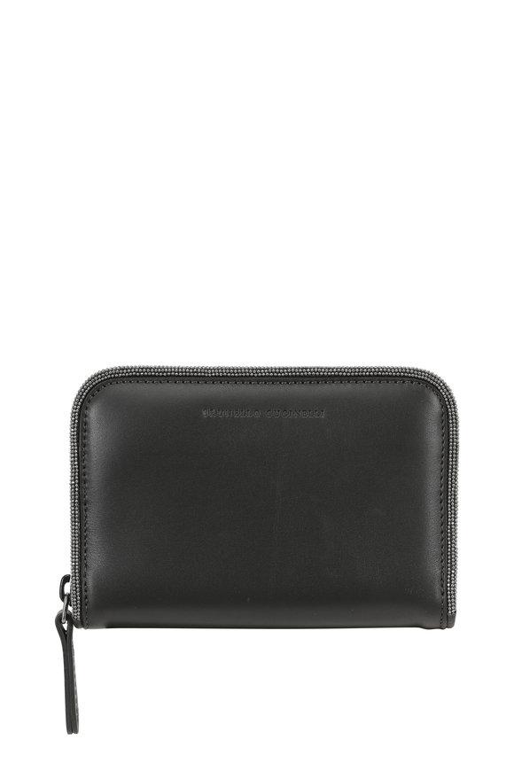 Brunello Cucinelli Graphite Leather Monili Piped Small Zip Wallet