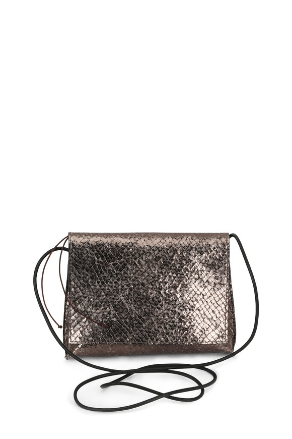 B May Bags Quicksilver Laser Cut Fold-Over Crossbody