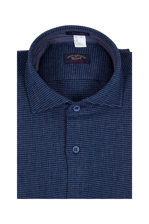 Paul & Shark Navy Blue Geometric Patterned Sport Shirt