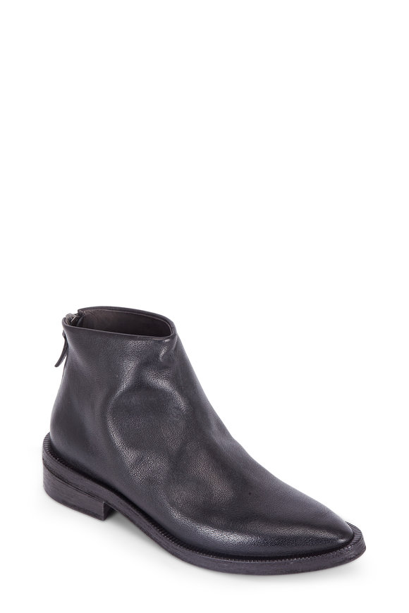 Marsell Drom Black Burnished Leather Ankle Boot
