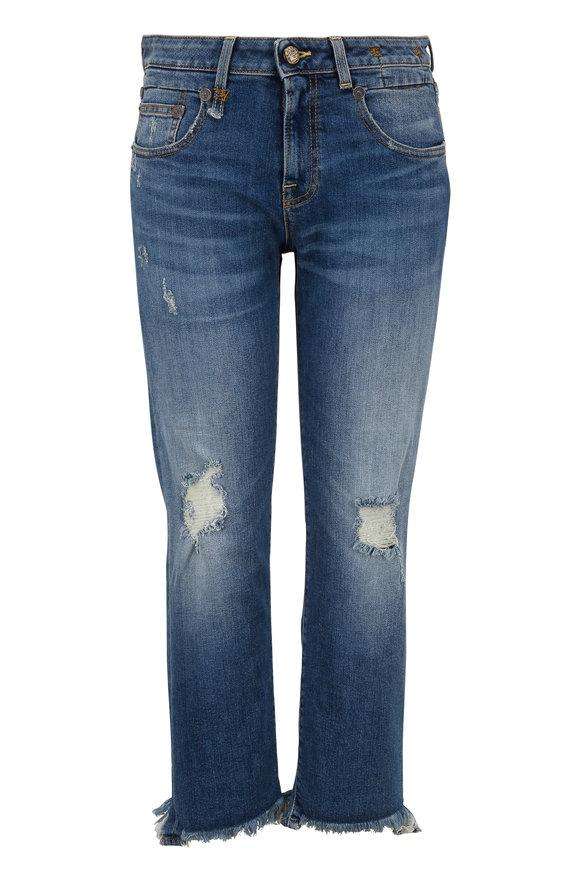 R13 Straight Boy Distressed Five Pocket Jean