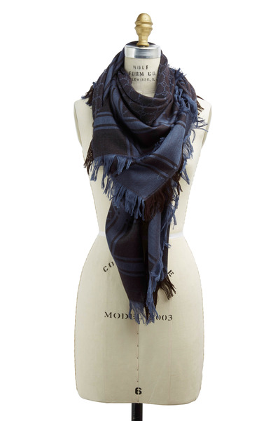 Gucci - Survie Blue & Dark Brown Wool & Silk Scarf