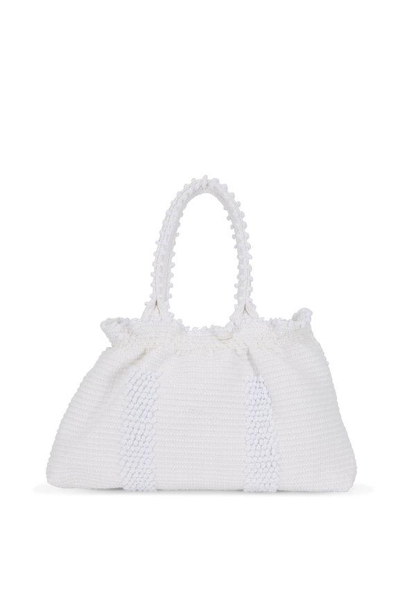 Antonello White Woven Pom Pom Ruched Shoulder Bag