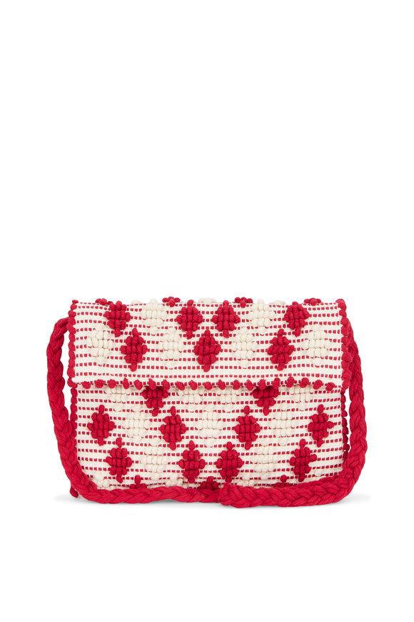 Antonello Red & Ivory Woven Diamond Pom Pom Crossbody