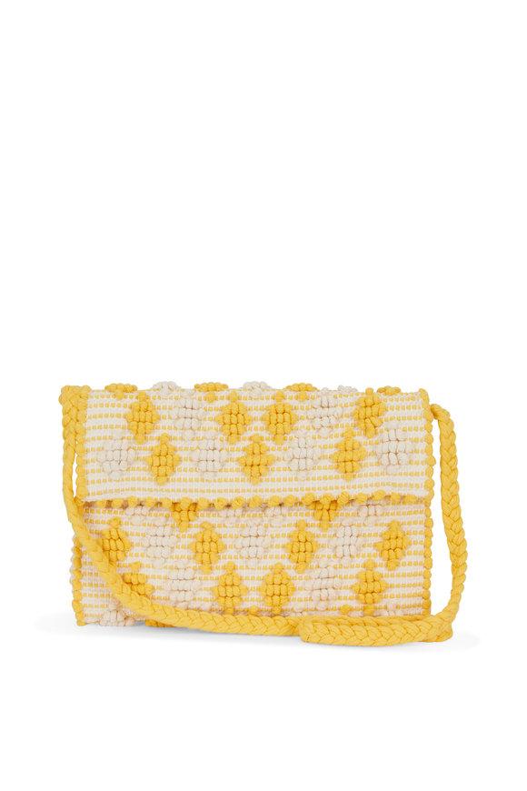 Antonello Yellow & Ivory Woven Diamond Pom Pom Crossbody
