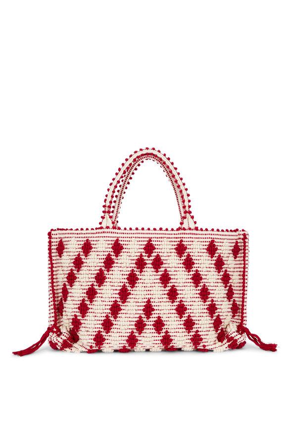 Antonello Red & Ivory Woven Cotton Diamond Pom Pom Tote