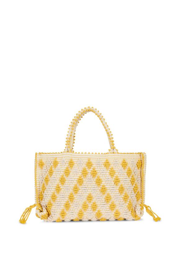 Antonello Yellow Woven Cotton Diamond Pom Pom Tote