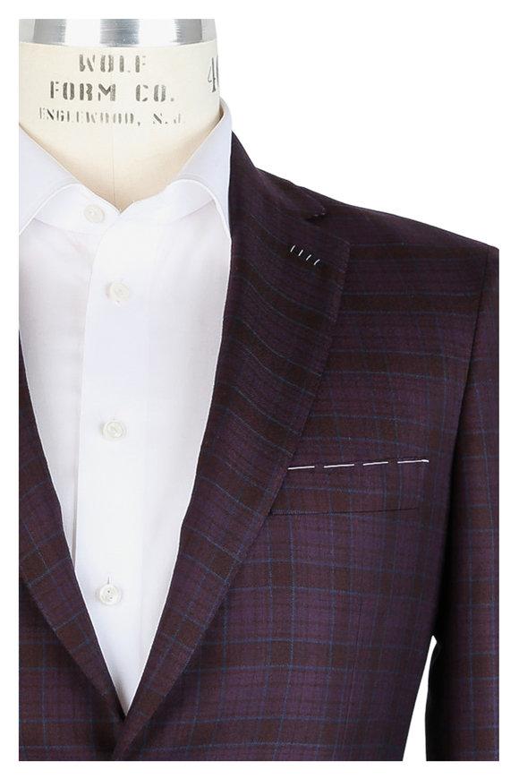 Brioni Wine Plaid Cashmere & Silk Sportcoat