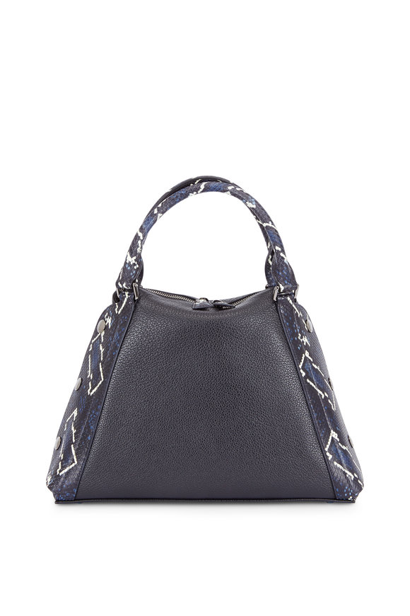 Akris Aimee Black Leather & Blue Python Convertible Bag