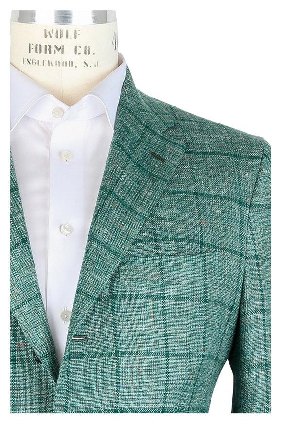 Kiton Green Windowpane Cashmere, Silk & Linen Sportcoat