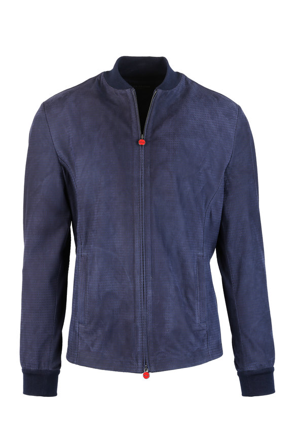 Kiton Navy Blue Suede Jacket