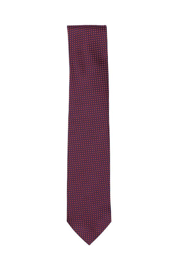 Ermenegildo Zegna Red & Blue Geometric Silk Necktie