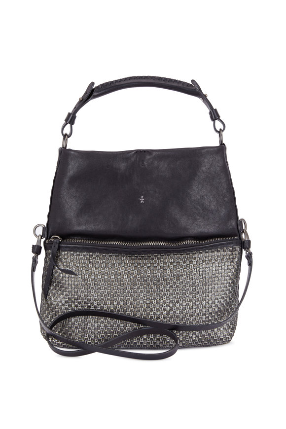 Henry Beguelin Andy Black Smooth & Woven Leather Crossbody
