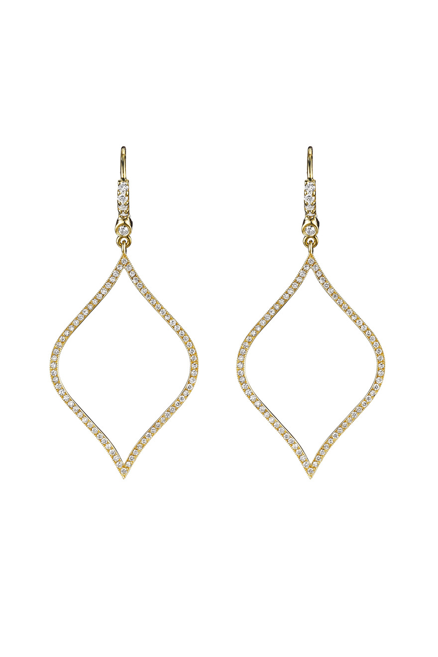 Gold Pave Diamond-Shape Earrings