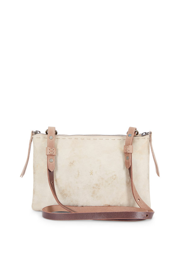 Henry Beguelin Zedda Gold Brushed Suede Double-Zip Crossbody