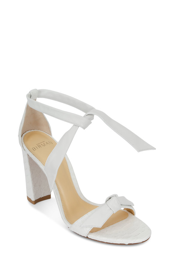 Alexandre Birman Clarita White Python Block Heel Sandal, 90mm