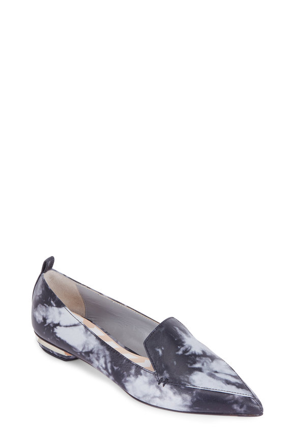 Nicholas Kirkwood Beya Charcoal Bleached Leather Pointed Toe Loafer