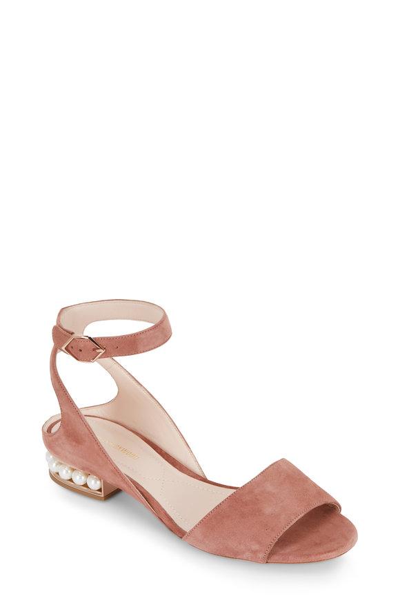 Nicholas Kirkwood Lola Pearl Rosewood Suede Ankle Strap Sandal