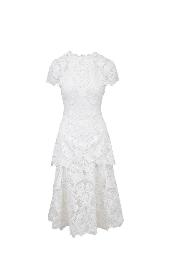 Jonathan Simkhai Ivory Lace Guipure Short Sleeve Dress