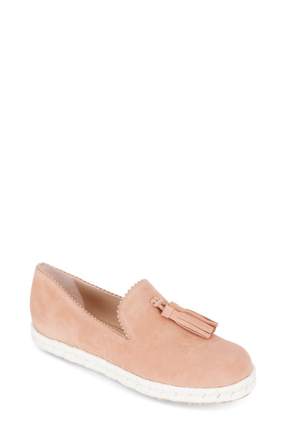 Stuart Weitzman Pyrenees Blush Suede Tassel Slip-On Loafer