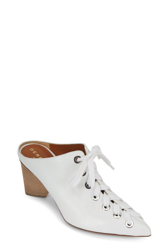 Derek Lam Nova White Leather Lace-Up Mule, 60mm