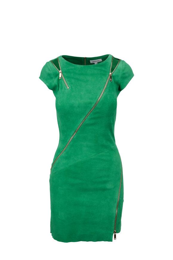 Jitrois Zipi Lucky Green Stretch Suede Mini Dress