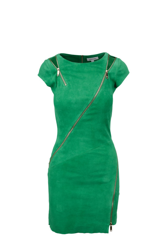 Jitrois Zipi Lucky Green Stretch Suede Mini Dress