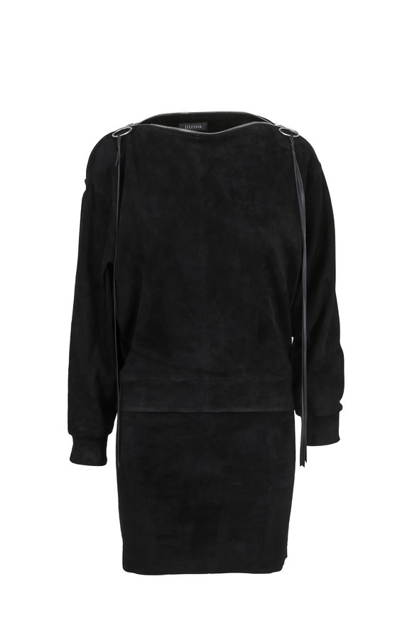 Jitrois Black Stretch Suede Zip Detail Tunic Dress