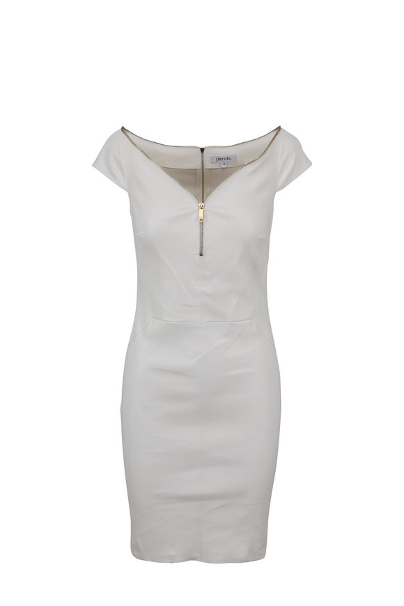Jitrois Diva Ivory Leather Mini Dress