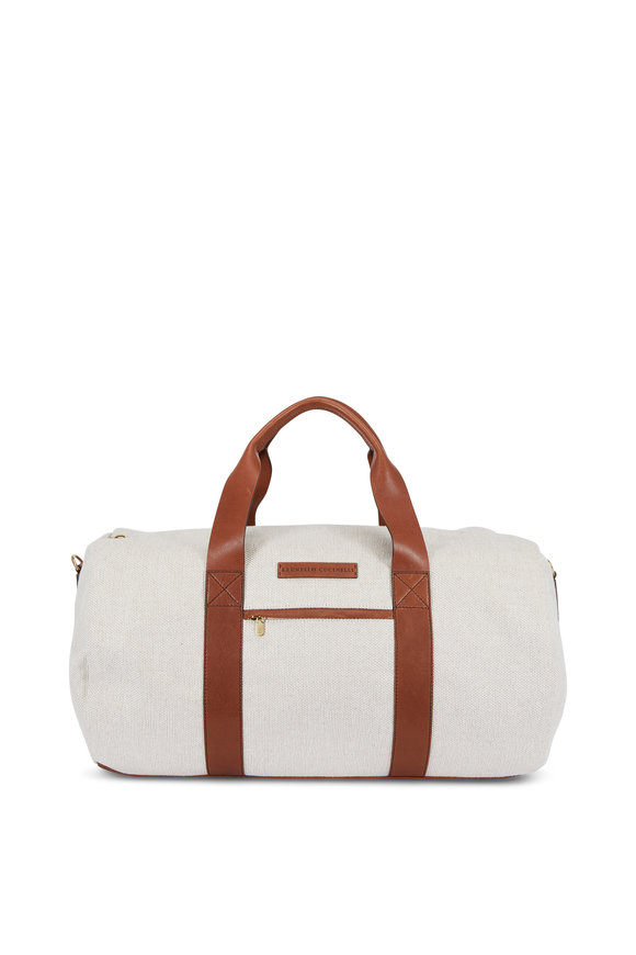 Brunello Cucinelli Linen & Brown Leather Weekend Bag
