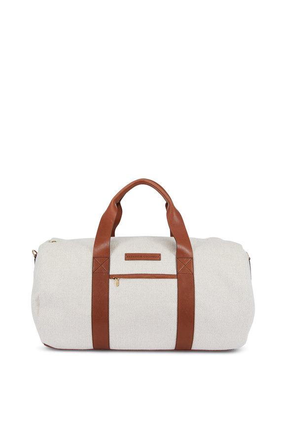 Brunello Cucinelli Linen & Brown Leather Weekend Bag