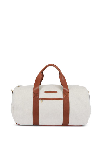 Brunello Cucinelli - Linen & Brown Leather Weekend Bag