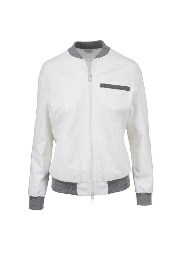 Brunello Cucinelli White Cotton Bomber Jacket