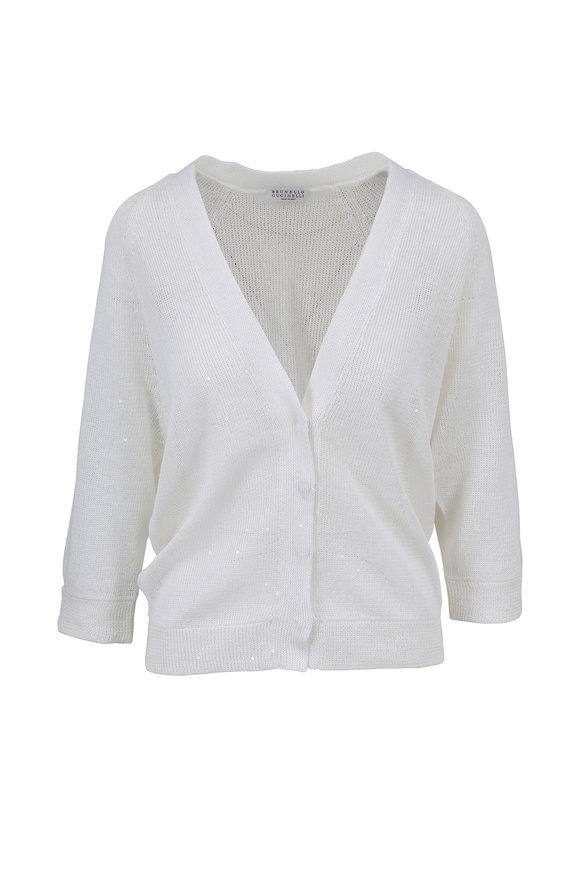 Brunello Cucinelli White Linen & Silk Pailette Cardigan