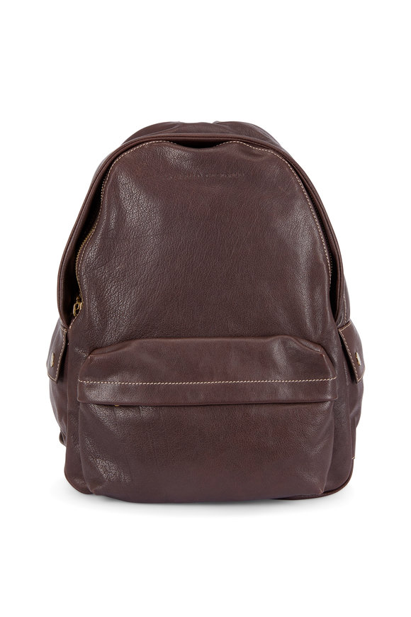 Brunello Cucinelli Dark Brown Leather Backpack