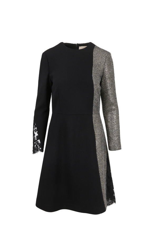 Olivine Gabbro Black Wool Long Sleeve Fit & Flare Dress