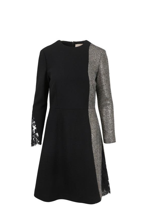 Olivine Gabbro Black Wool Long Sleeve Fit & Flare Dress