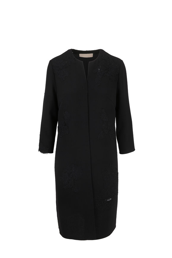 Olivine Gabbro Black Crêpe Couture Lace Trim Coat
