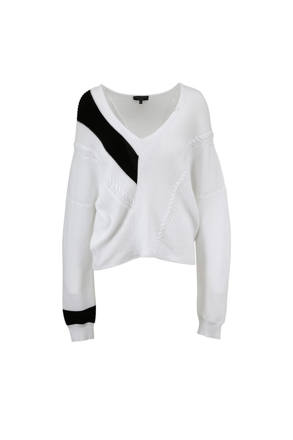 Rag & Bone Cricket White & Black V-Neck Sweater