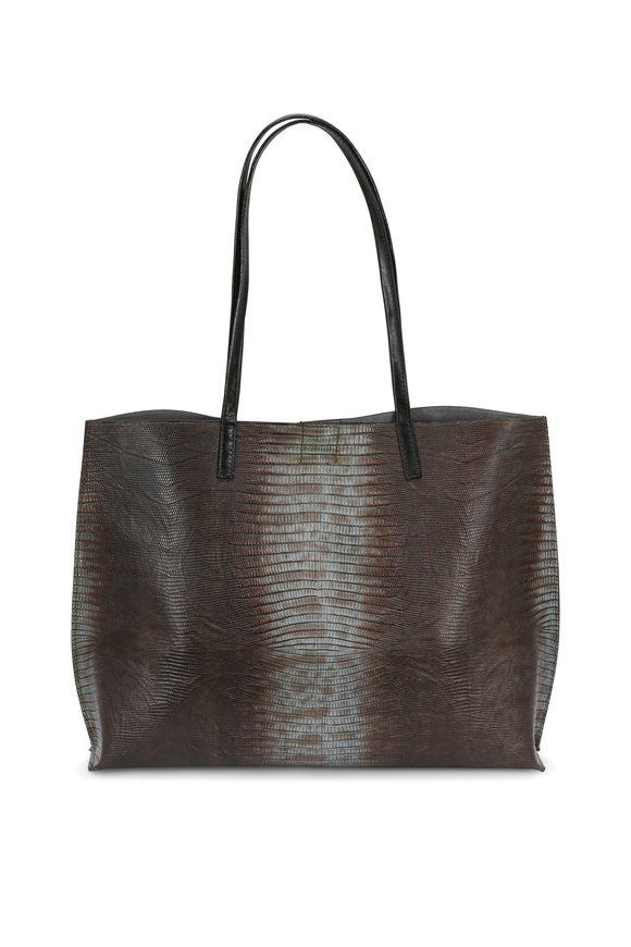 B May Bags Atlantis Ice Lizard Embossed Classic Shopper Tote
