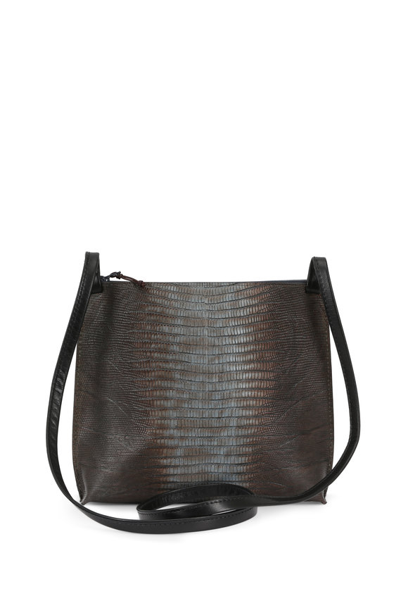 B May Bags Atlantis Ice Lizard Embossed Leather Crossbody