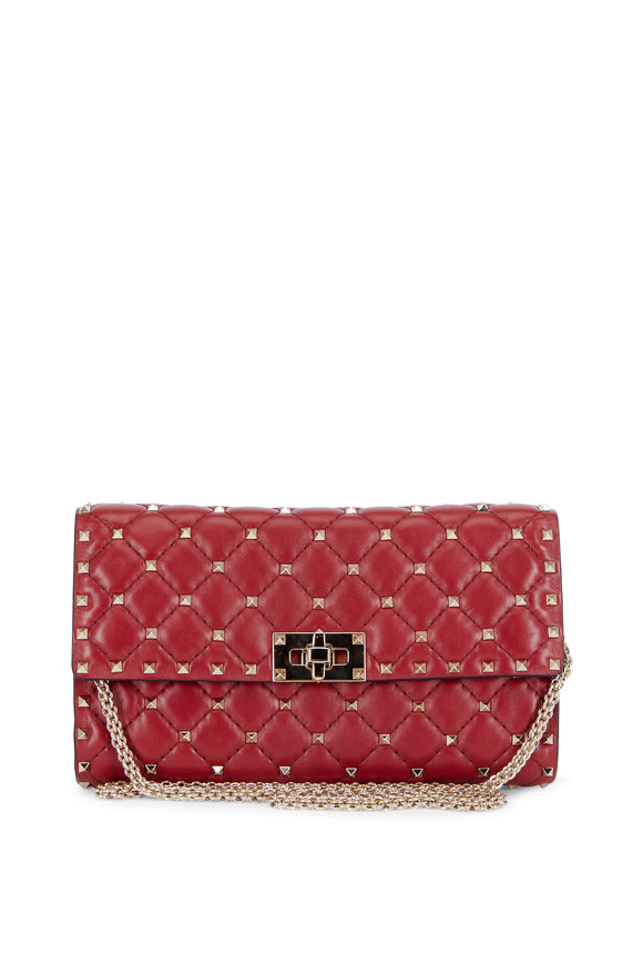 Valentino Rockstud Red Quilted Leather Chain Crossbody